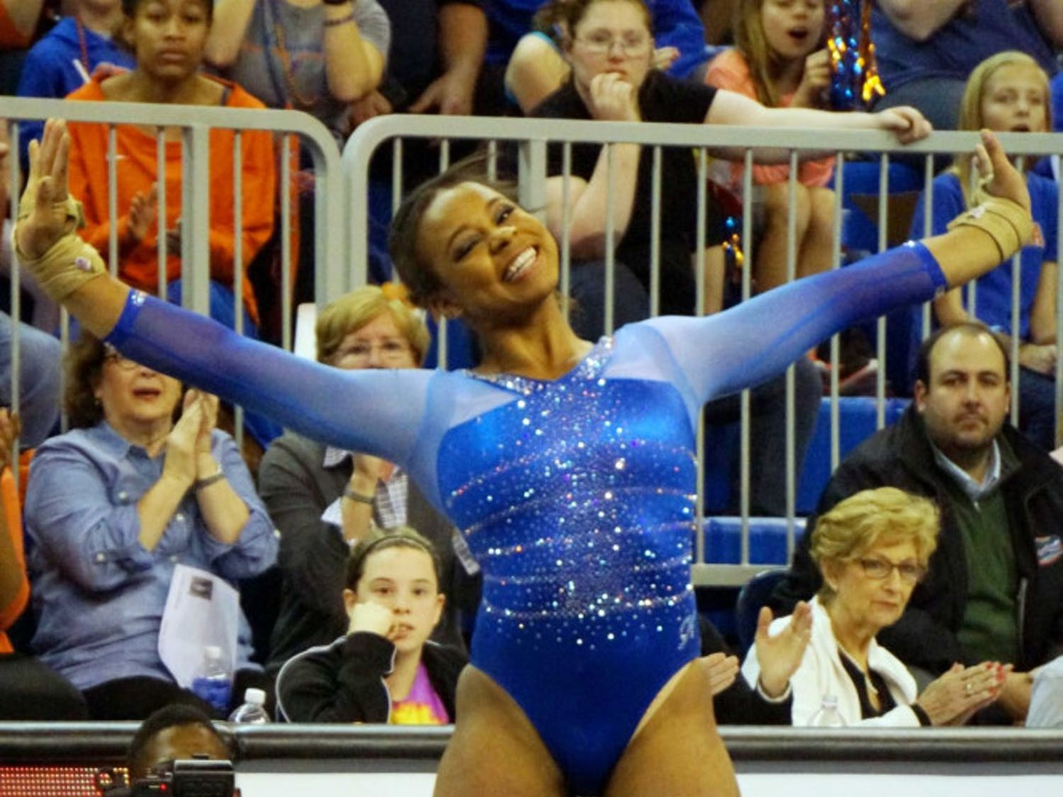 Kennedy Baker performs her floor exercise during Florida's 197.60-196.950 win against Georgia on Friday in the O'Connell Center.