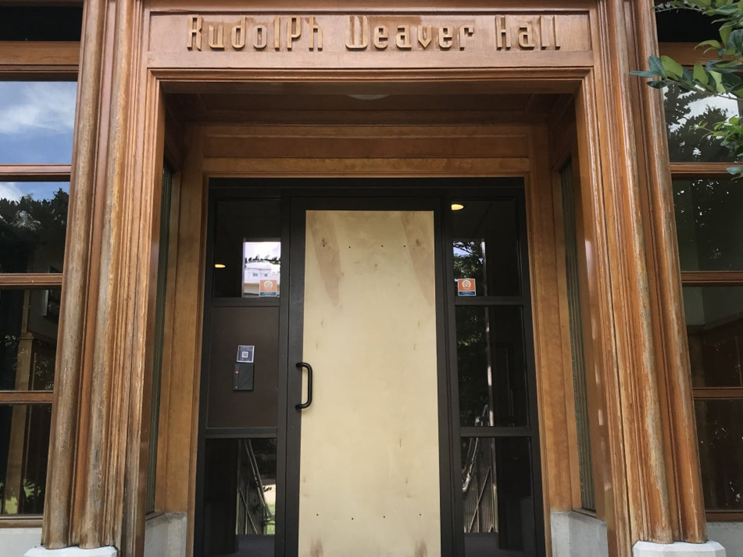 The door of Weaver Hall was broken late Monday night or Tuesday morning. University Police does not know who did it, and the department is investigating the case.