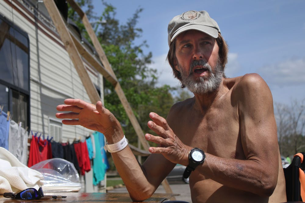 """<p dir=""""ltr""""><span>In Dignity Village, just outside the main gate of GRACE Marketplace, Mark Venzke, 62, describes his plans to renovate his motorhome so he can move out of the 6-foot tent where he currently sleeps.</span></p><p><span></span></p>"""