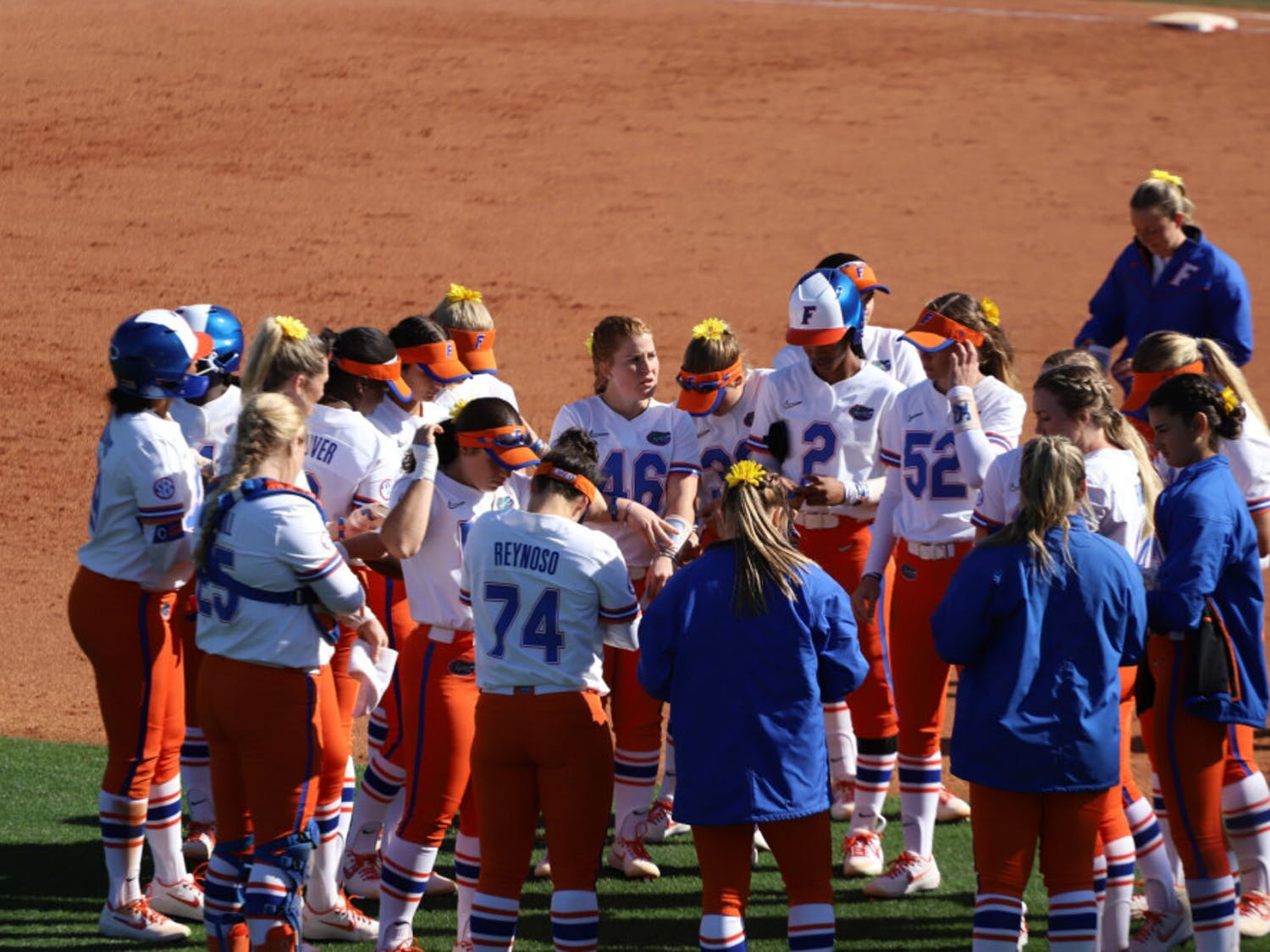Florida softball team before its series against the Ragin' Cajun's this year. Lorenz will return to the program this year as a volunteer assistant coach.