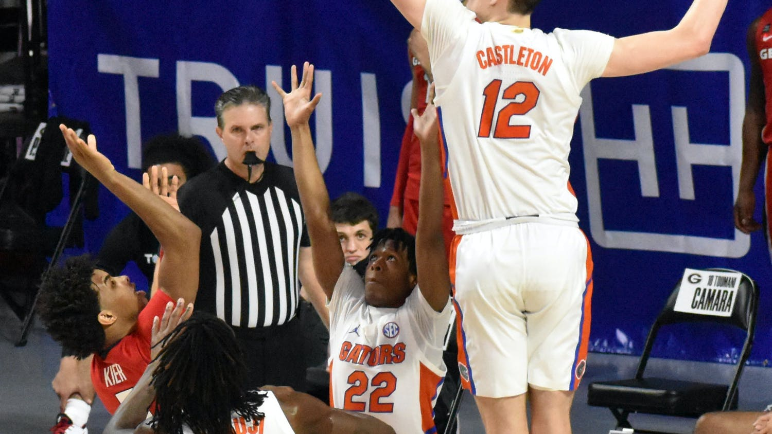 Colin Castleton against Georgia on Feb. 20. UF basketball released its 2021 non-conference schedule Thursday.