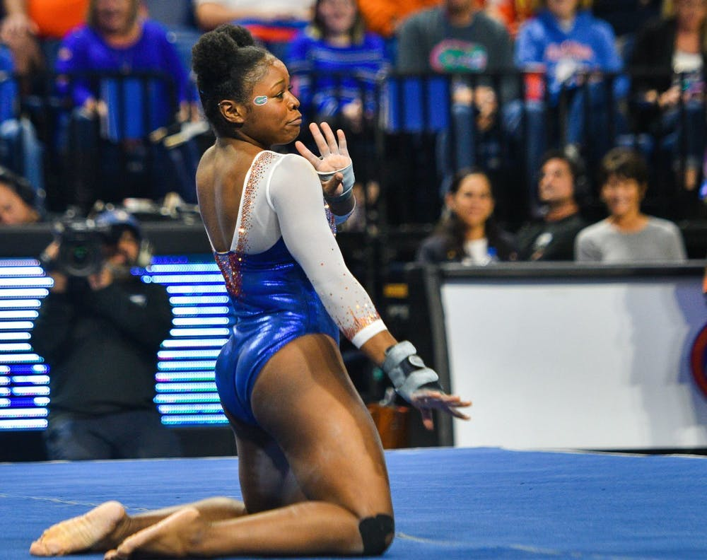 """<p>Senior Alicia Boren scored a 9.975 on her floor routine in the Gators'&nbsp;<span id=""""docs-internal-guid-c8bc445a-7fff-ade8-46ef-5be2b6dcfdf4""""><span>198.025-196.325 victory against the Penn State Nittany Lions on Senior Night.</span></span></p>"""