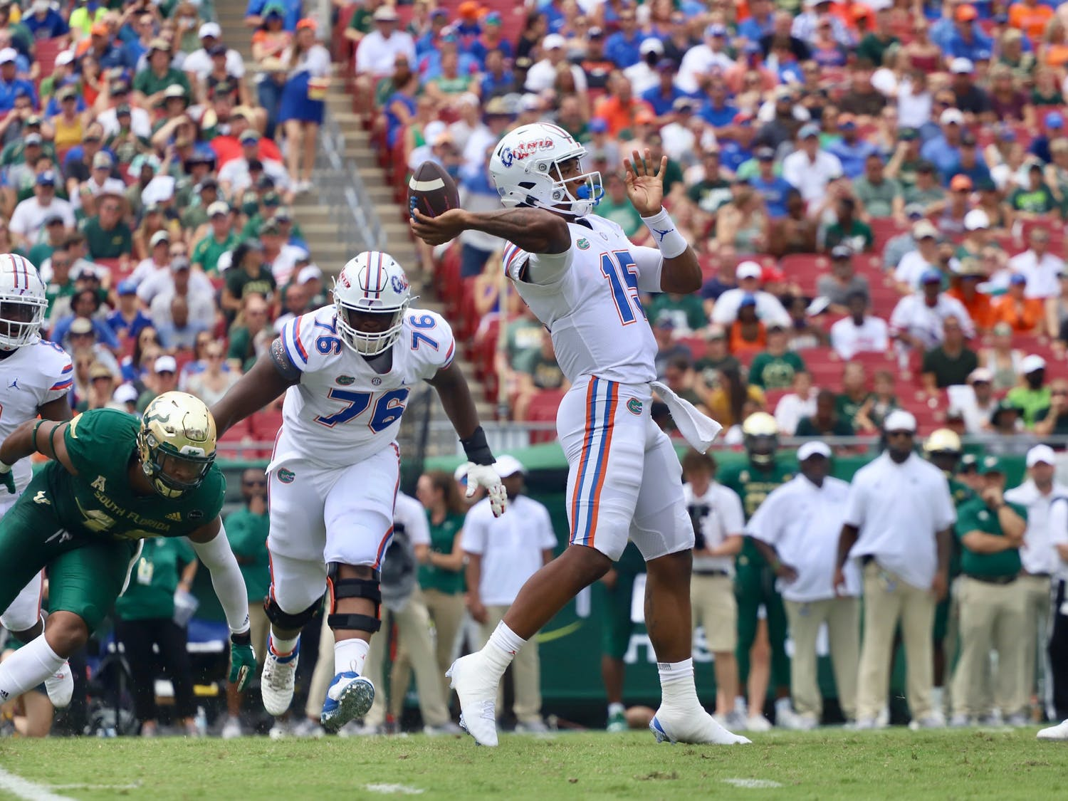 Florida's Anthony Richardson (pictured with ball) sets to throw against South Florida on Sept. 11, 2021.