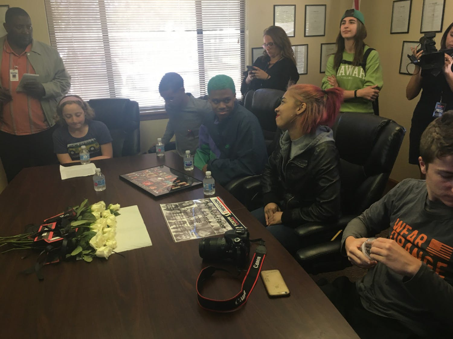 Five students, including one middle schooler, Skyped with Congressman Ted Yoho, who was in his Washington D.C. office Wednesday during the nationwide Walkout Wednesday protest.