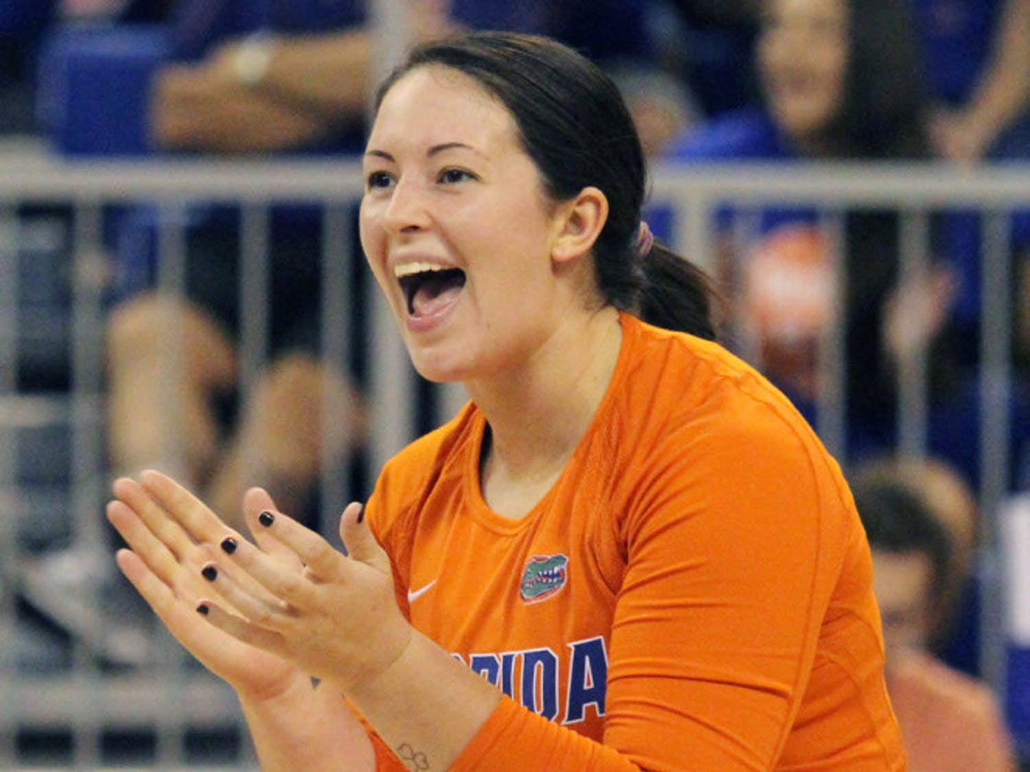 Junior libero Taylor Unroe reacts to a play during Florida's three-set victory against FSU on Sept. 17 in the O'Connell Center.