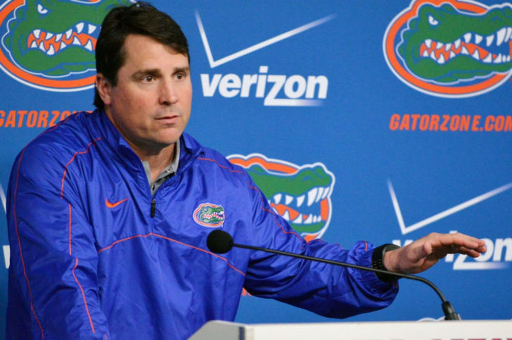 <p>Will Muschamp speaks at a press conference on Tuesday at Ben Hill Griffin Stadium. Muschamp picked up the sixth commitment of his 2015 class Thursday.</p>