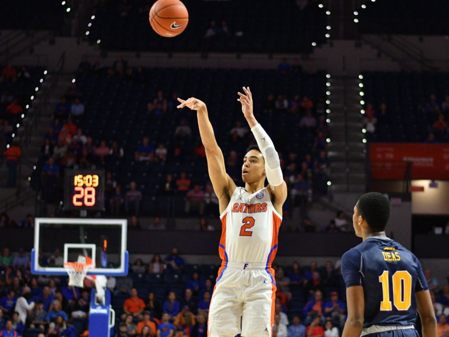 Freshman guard Andrew Nembhard is second on the team in three-point shooting percentage (.467).