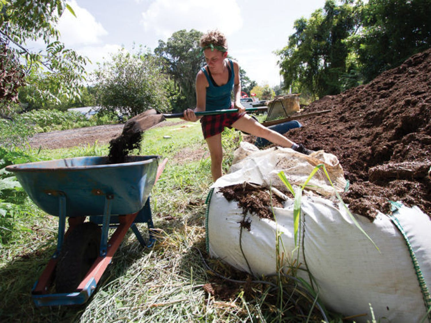 Ellen Vessels, 27, coordinator of the Florida Organic Growers GIFT Gardens program, shovels compost at Porters Community Garden, located at 518 SW Third St.