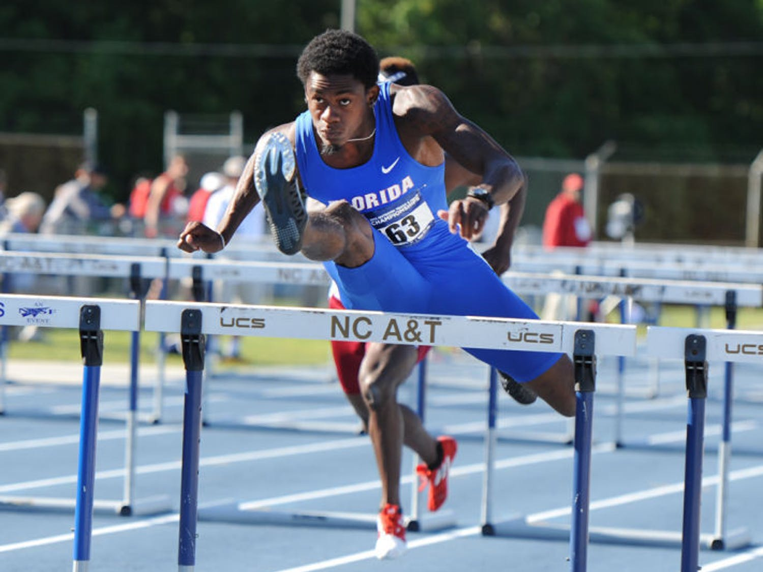 Eddie Lovett leaps over a hurdle during a NCAA East Preliminary Round in Greensboro, N.C., on May 24. Lovett will compete in the 110m hurdles tonight at 8:20.