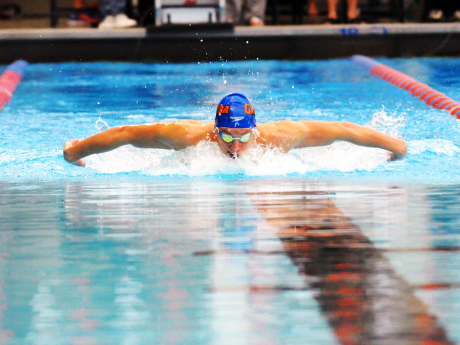 Jan Switkowski races in the 200 meter butterfly during Florida's meet against Auburn on Jan. 23, 2016, in the O'Connell Center.