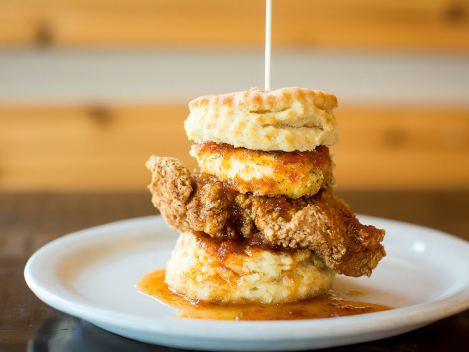 """The """"Squawking Goat"""" is Maple Street Biscuit Company's fried chicken sandwich topped with goat cheese."""