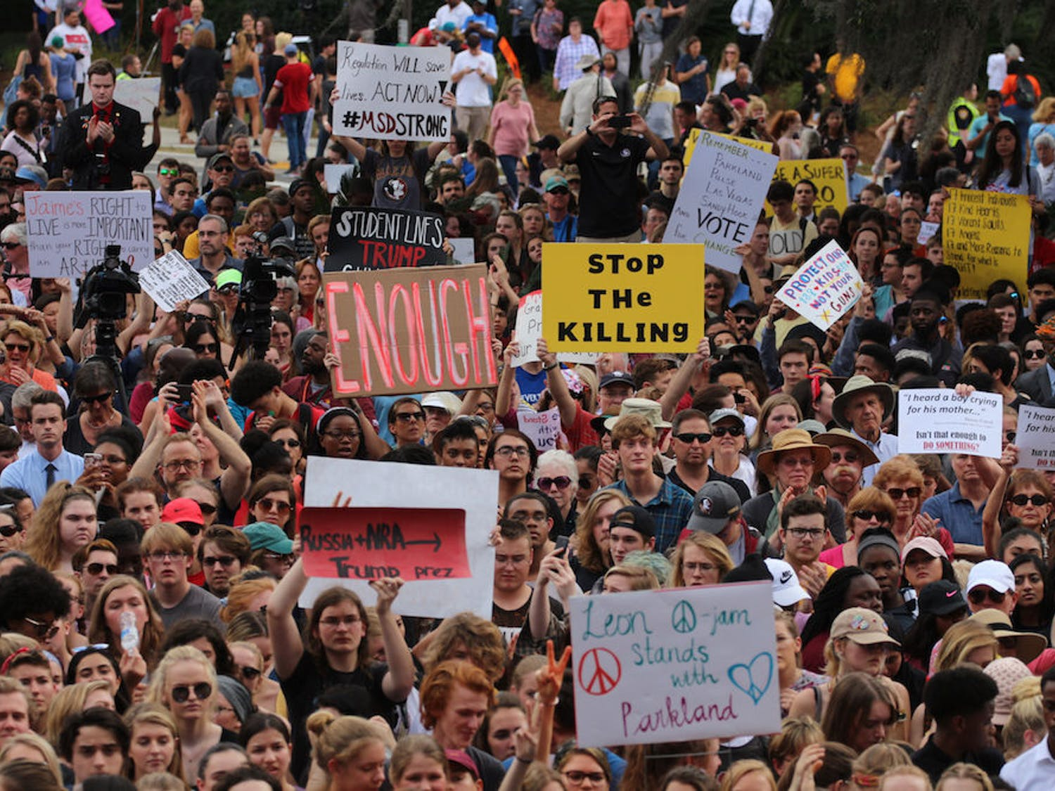 Students from Marjory Stoneman Douglas High School in Parkland, Florida, and supporters march in Tallahassee for gun control after 17 were shot and killed at the school Feb. 14.
