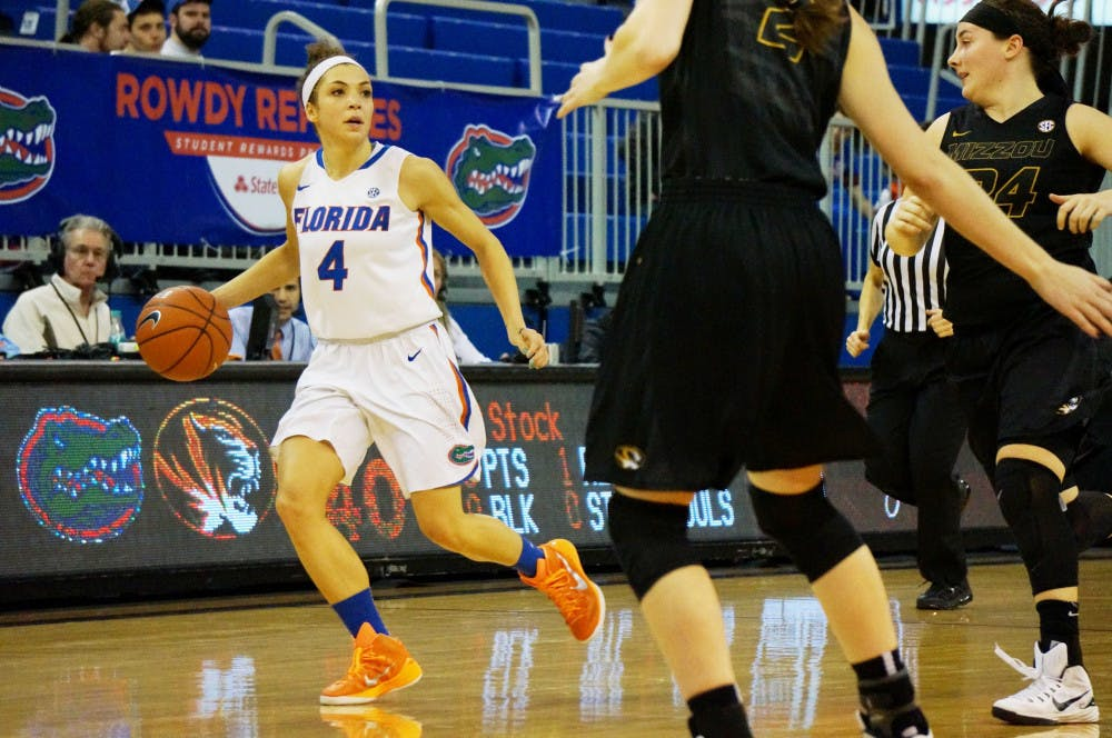 <p>Carlie Needles dribbles the ball down the court during Florida's loss to Missouri on Thursday in the O'Connell Center.</p>