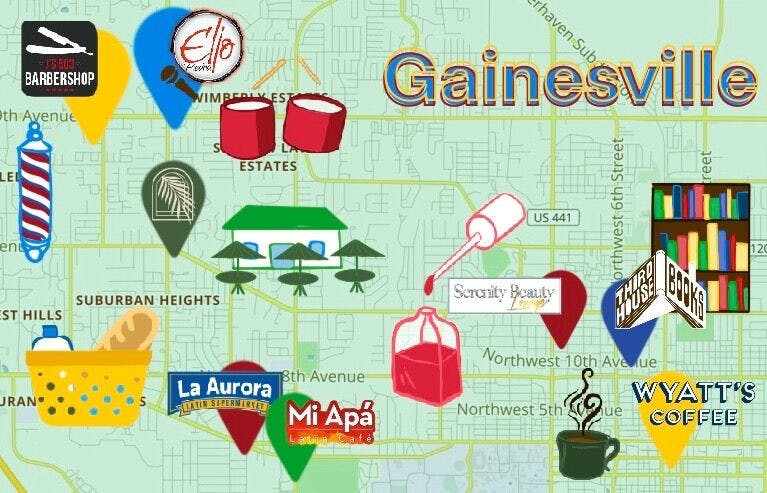 Graphic of a map of Gainesville with Hispanic-owned businesses marked