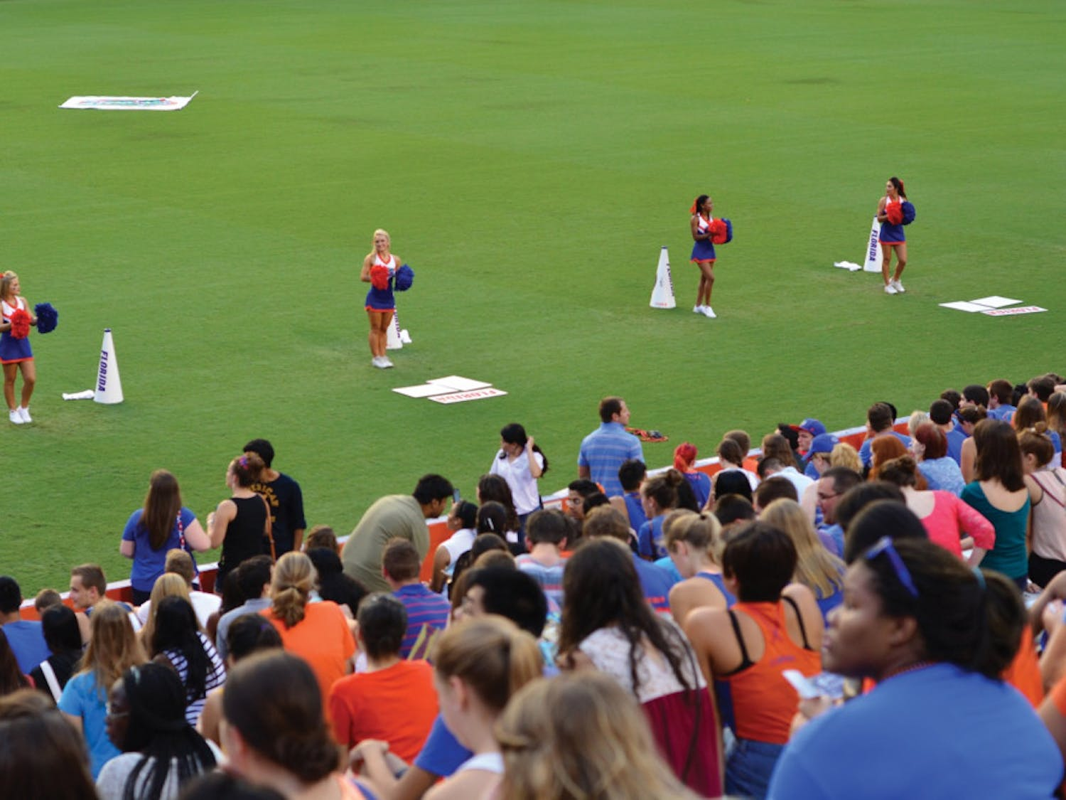 """PEP RALLY - UF Students gather for the first-ever """"Rally in the Swamp"""" student pep rally on Sunday, Aug. 24. in the Ben Hill Griffin Stadium."""