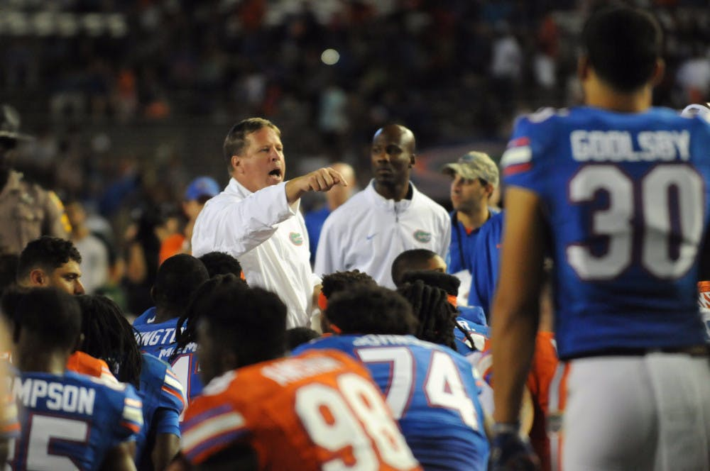<p>UF coach Jim McElwain talks with his teamfollowing the Orange &amp; Blue Debut on April 8, 2016, at Ben Hill Griffin Stadium.</p>