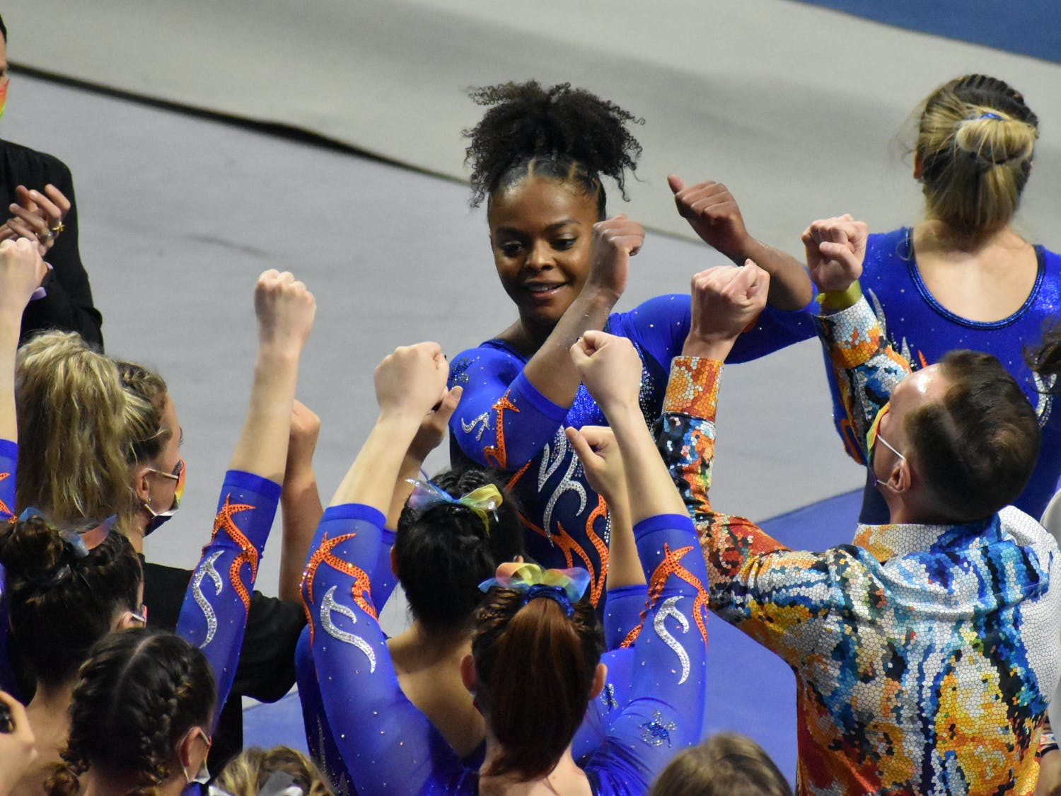 Thomas capped off a strong team performance that lifted the Gators to a first-place finish in their second-round session in Athens, Georgia, Friday. Photo from UF-Mizzou meet Jan. 29.