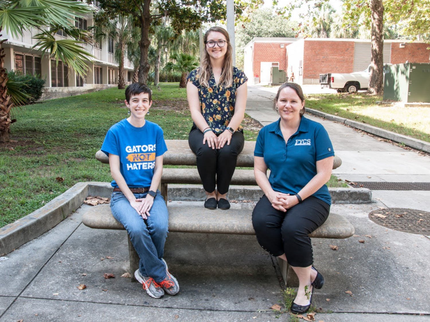 Elaine Giles (left), assistant director for UF's Brown Center for Leadership and Service, Emily Carroll (middle), former UF student, and Jennifer Jones (right), UF assistant professor, made up the volunteering research team.
