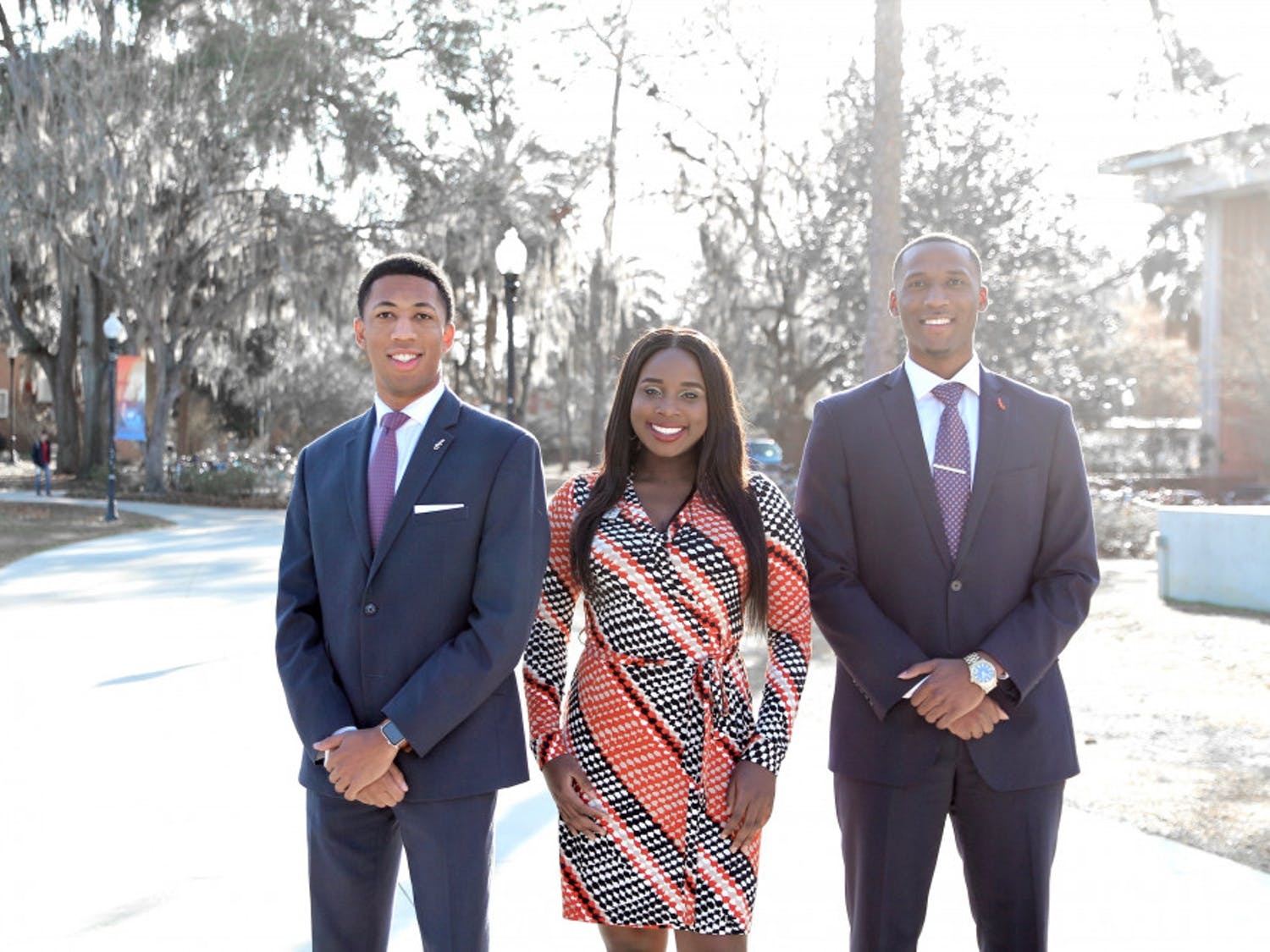From left: Ian Green, Janae Moodie and Revel Lubin. The three black student candidates are running for student body president in a three-party race.
