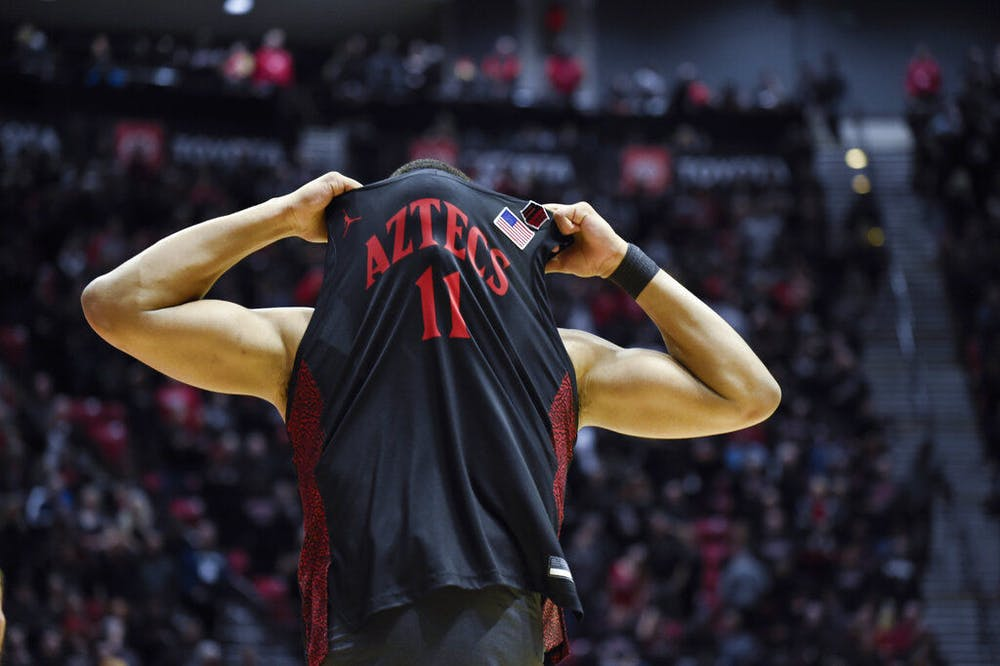 <p>San Diego State forward Matt Mitchell (11) reacts after missing the final basket during the second half of an NCAA college basketball game against UNLV, Saturday, Feb. 22, 2020, in San Diego. (AP Photo/Denis Poroy)</p>