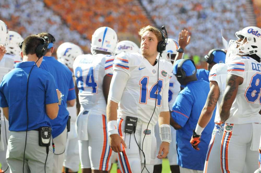 """<p class=""""p1""""><span class=""""s1""""><span id=""""docs-internal-guid-6caeac6b-41f1-0b8f-781e-5f690327b0ef""""><span>Luke Del Rio stands on the sideline during Florida's loss to Tennessee on Sept. 24.</span></span></span></p>"""
