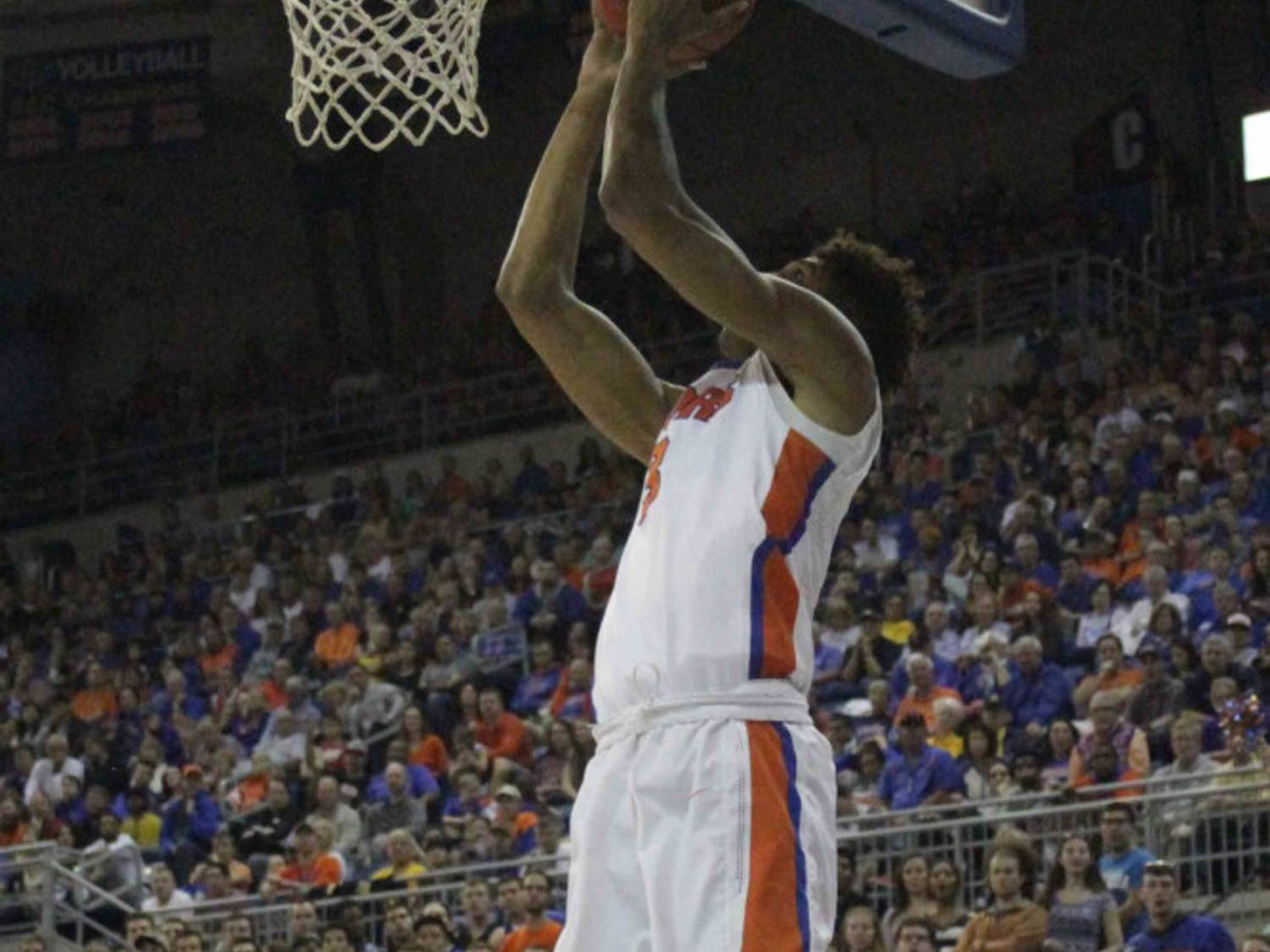 Devin Robinson goes for a layup during Florida's win over West Virginia on Jan. 30, 2016, in the O'Connell Center.