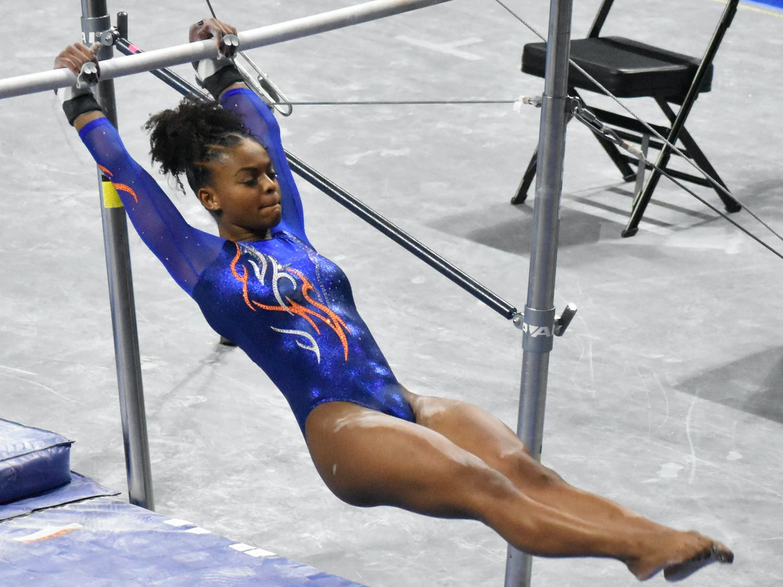 Florida gymnast Trinity Thomas performs on the bars in a meet against Missouri on January 29.