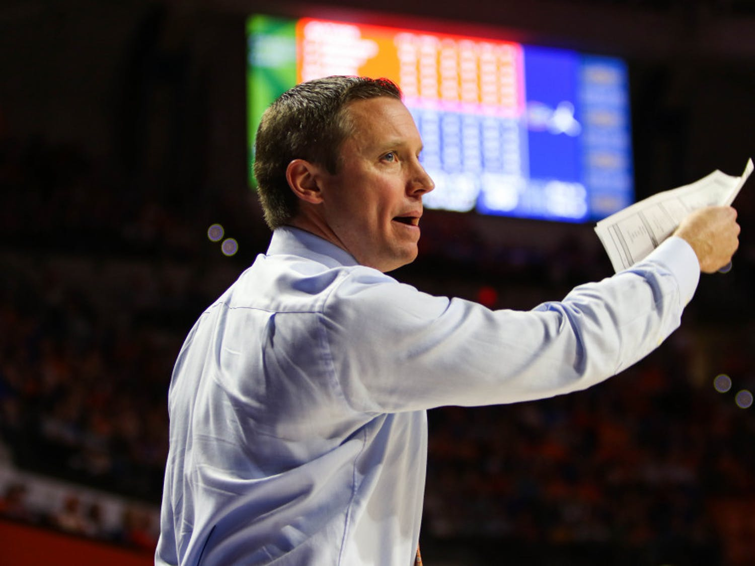 """The Gators turned the ball over 17 times during their 76-62 loss to Auburn on Tuesday. """"Could talk about it until we were blue in the face...Auburn has elite team speed. Active hands,"""" coach Mike White said."""