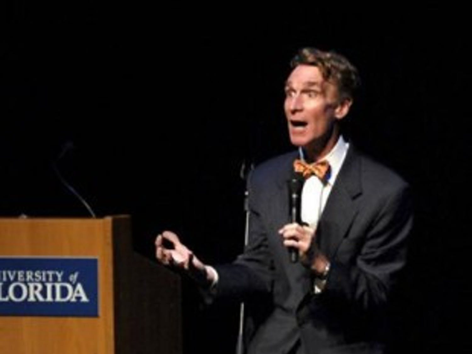 (Nicole Safker / Alligator Staff) Scientist and TV personality Bill Nye gestures during his speech at the Phillips Center in 2007.