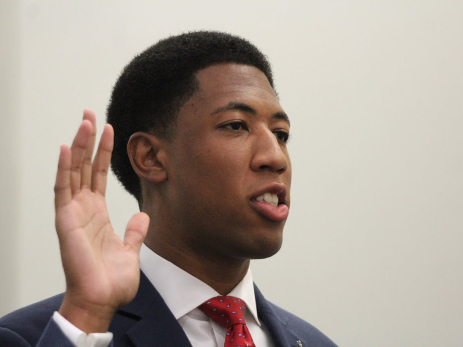 Ian Green (Impact, Business Administration) swears in as Student Government Senate President on Tuesday.
