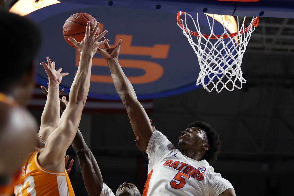 Omar Payne was Florida's most frightening force on the floor Tuesday night, logging nine points, nine rebounds, five blocks and one assist. Photo courtesy of the SEC Media Portal.