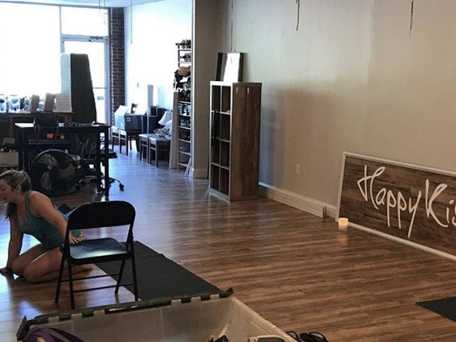 Anne Saville, an instructor at Happy Kiss Pole Fitness teaches one of her first virtual classes during the studio's closure.
