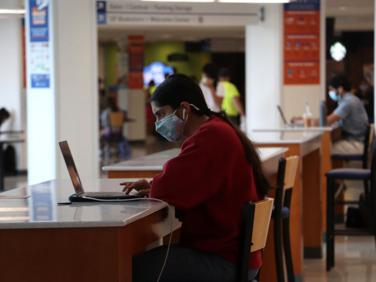 Pia Nair, 19, a UF second-year psychology student, takes a quiz in the Reitz Student Union on Thursday, Sept. 17, 2020.