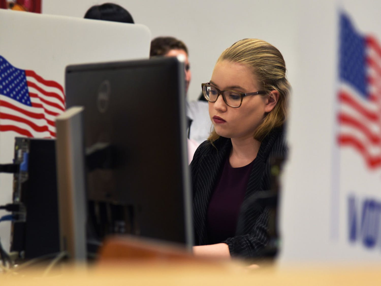 Olivia Dunbar, a 20-year-old computer engineering junior at UF, votes Tuesday in the fall student government election at the Marston Library.