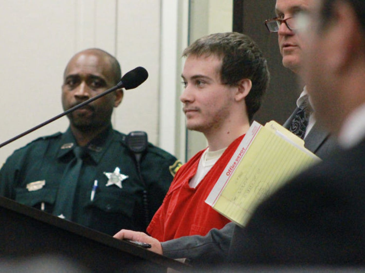 Pedro Bravo stands at a case management hearing at the Alachua County Courthouse on Tuesday. The Florida Department of Law Enforcement will release more evidence collected during last year's Christian Aguilar murder investigation.