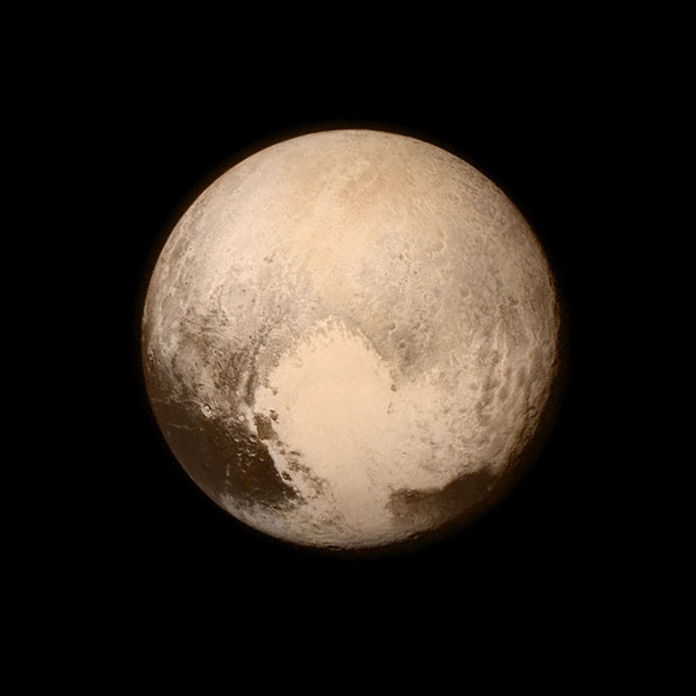 <p>This July 13 image provided by NASA shows Pluto as seen from the New Horizons spacecraft. The United States is now the only nation to visit every single planet in the solar system. Pluto was No. 9 in the lineup when New Horizons departed Cape Canaveral, Florida, on Jan. 19, 2006.</p>