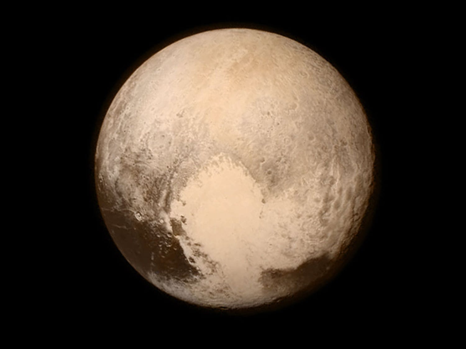 This July 13 image provided by NASA shows Pluto as seen from the New Horizons spacecraft. The United States is now the only nation to visit every single planet in the solar system. Pluto was No. 9 in the lineup when New Horizons departed Cape Canaveral, Florida, on Jan. 19, 2006.