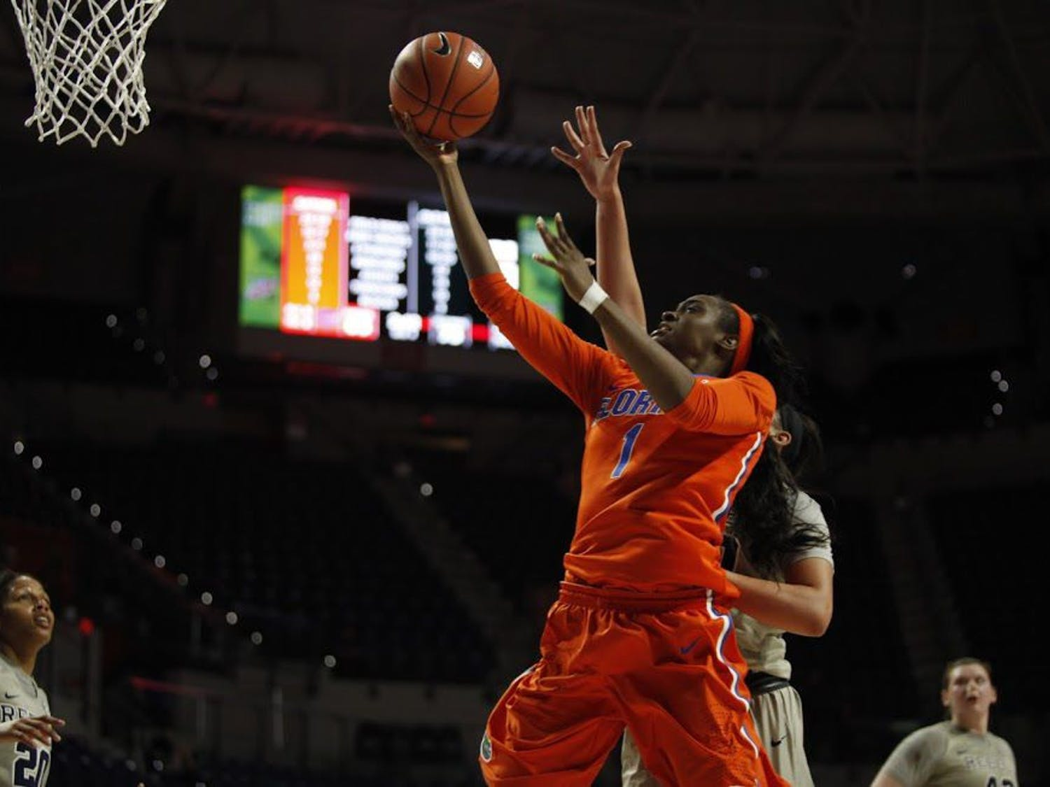 UF forward Ronni Williams attempts a layup during Florida's 84-75 loss to Ole Miss on Feb. 6, 2017, in the O'Connell Center.