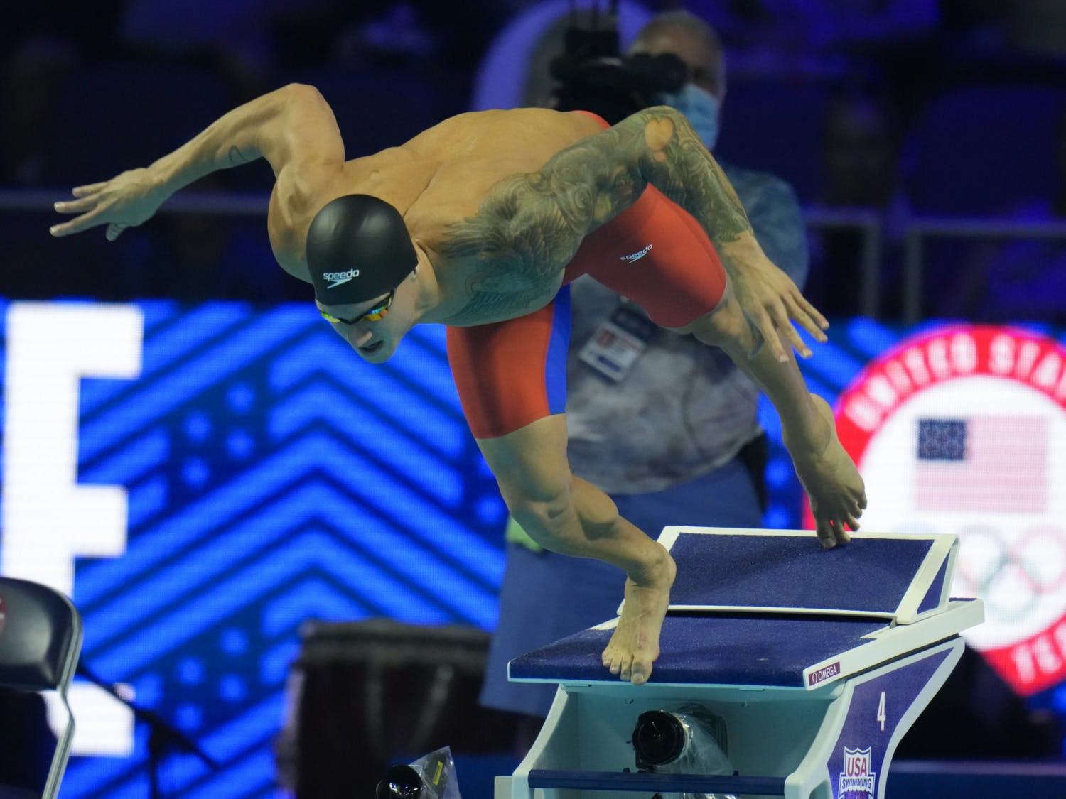 Caeleb Dressel participates in the men's 50 freestyle during wave 2 of the U.S. Olympic Swim Trials in Omaha, Neb on June 20, 2021. (AP Photo/Jeff Roberson)