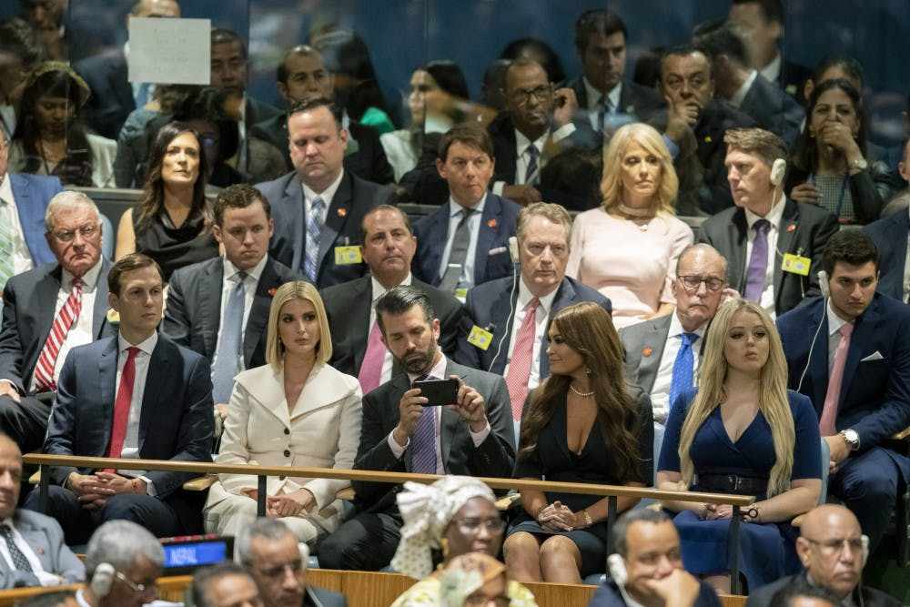 <p>The Trump family, front row, and his staff listen as U.S. President Donald Trump addresses the 74th session of the United Nations General Assembly at U.N. headquarters Tuesday, Sept. 24, 2019. From right to left, Tiffany Trump, Kimberly Guilfoyle, Donald Trump Jr., Ivanka Trump, and Jared Kushner. (AP Photo/Mary Altaffer)</p>