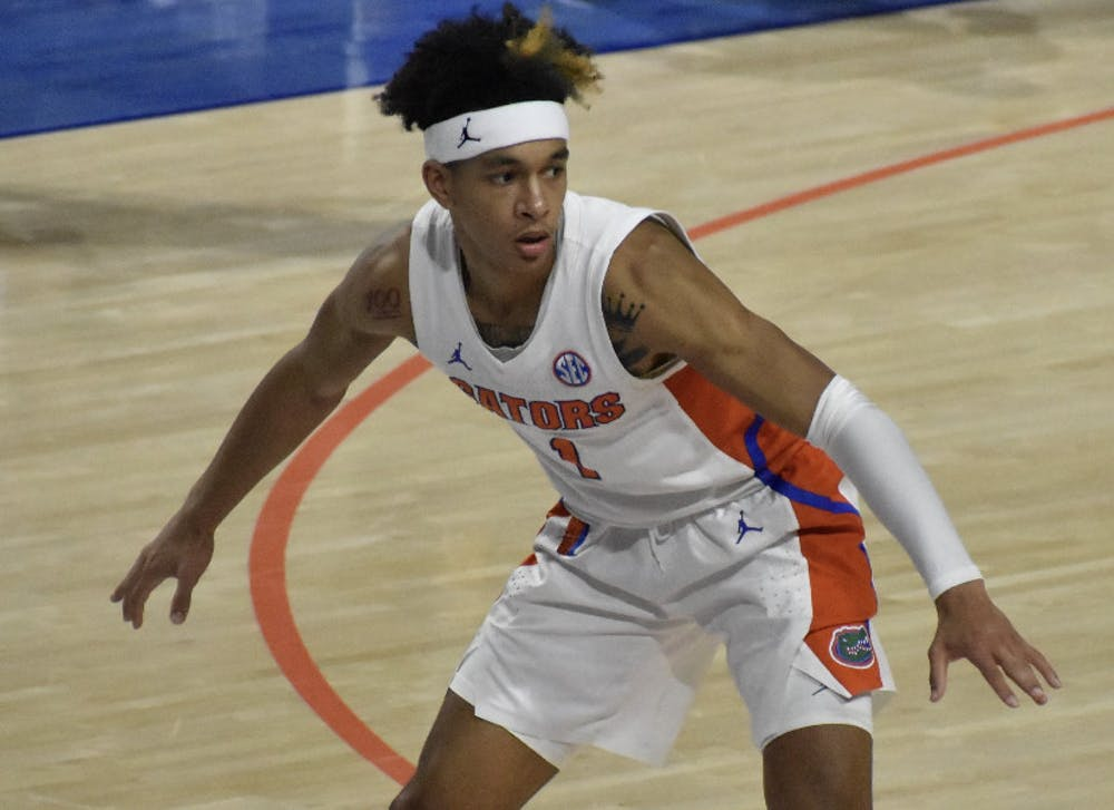 <p>Tre Mann defends against Missouri on March 4. Mann's step-back clinched a first-round victory for Florida</p>
