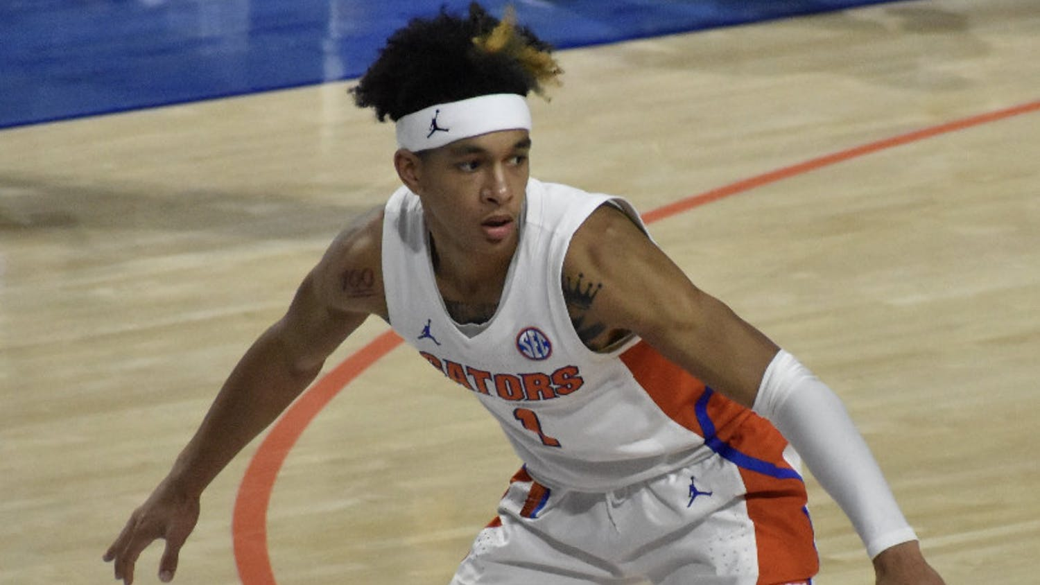 Tre Mann defends against Missouri on March 4. Mann's step-back clinched a first-round victory for Florida