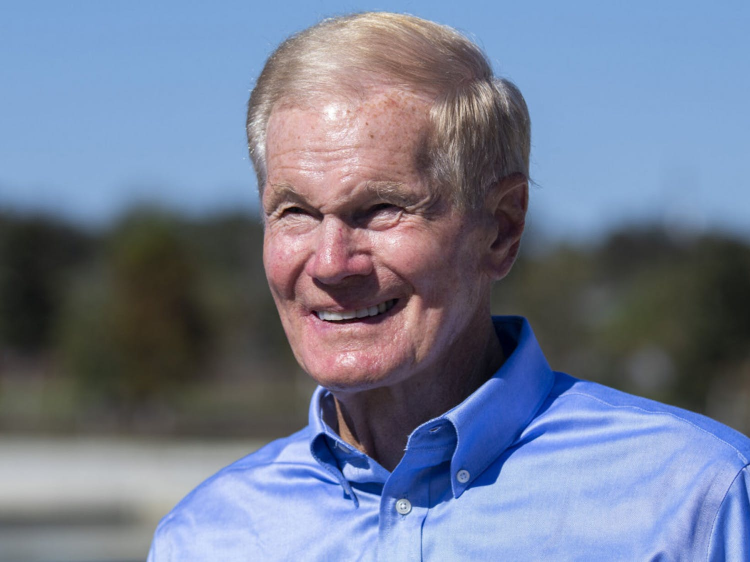 "Senator Bill Nelson smiles during an interview after his speech at Depot Park during the ""Good Trouble"" rally held on Saturday, Oct. 31, 2020."