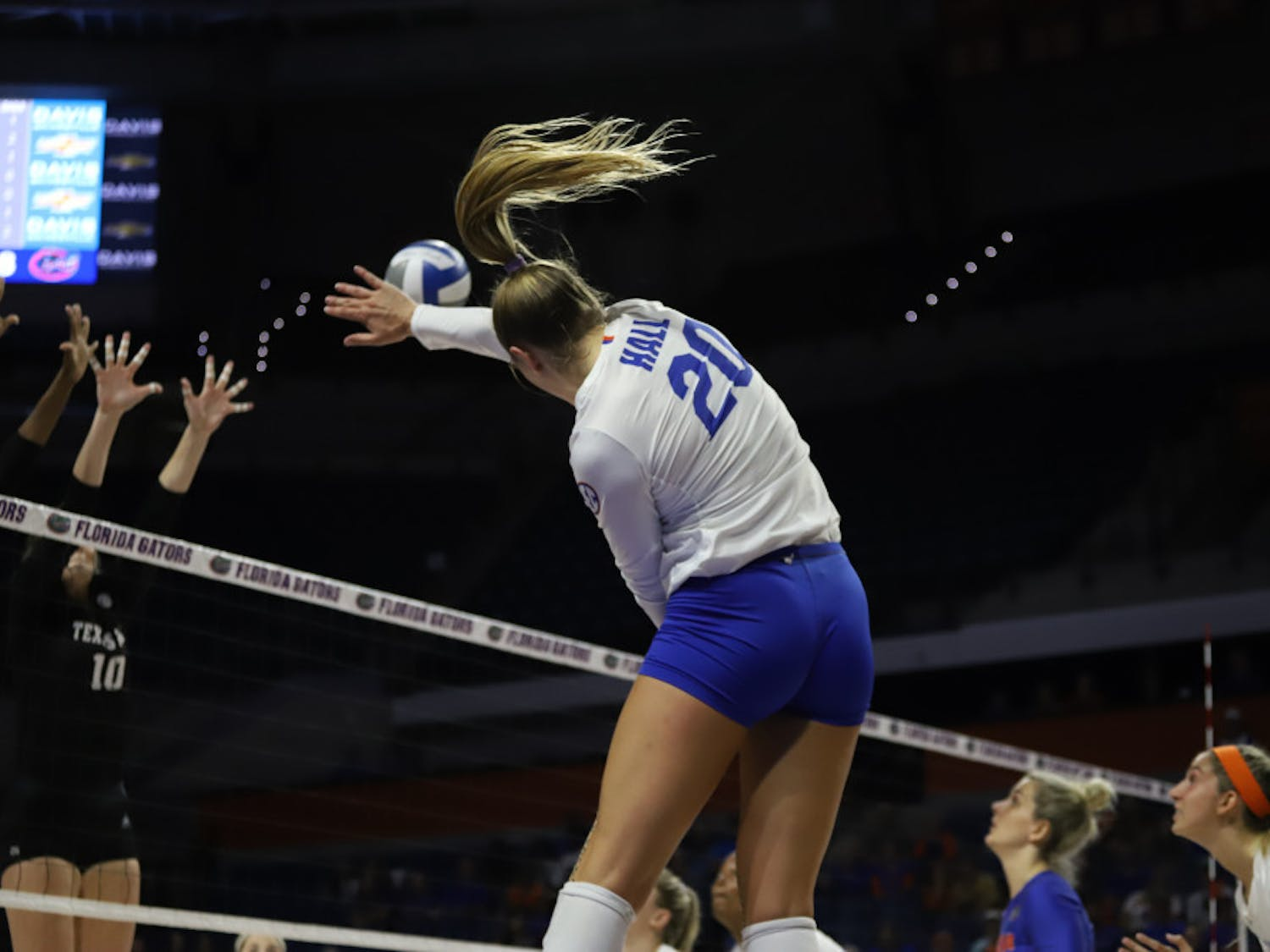 Thayer Hall spikes the ball at Florida's game against Kentucky last season. On Friday night, Hall recorded 19 kills in the Gators' victory over Alabama.