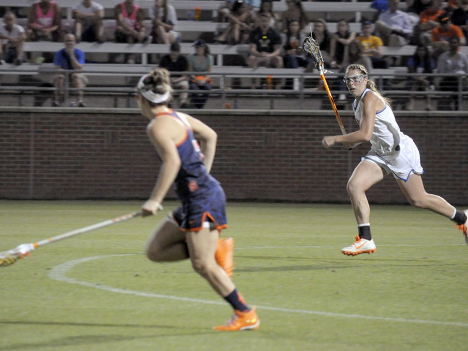 Shannon Gilroy runs down the field during Florida's 14-13 overtime loss to Syracuse on March 10 at Donald R. Dizney Stadium.