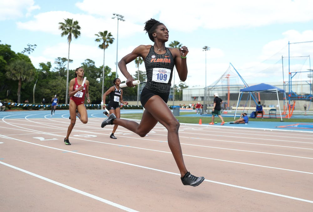 Florida's Taylor Manson runs during the Pepsi Florida Relays on Saturday, April 3, 2021 at Percy Beard Track at James G. Pressly Stadium in Gainesville, Fla. / UAA Communications photo by Hannah White