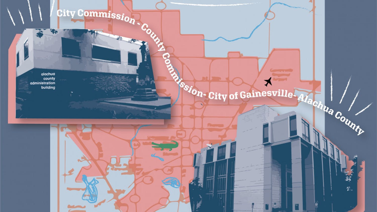 Graphic of Gainesville City Hall and the County Administration Building