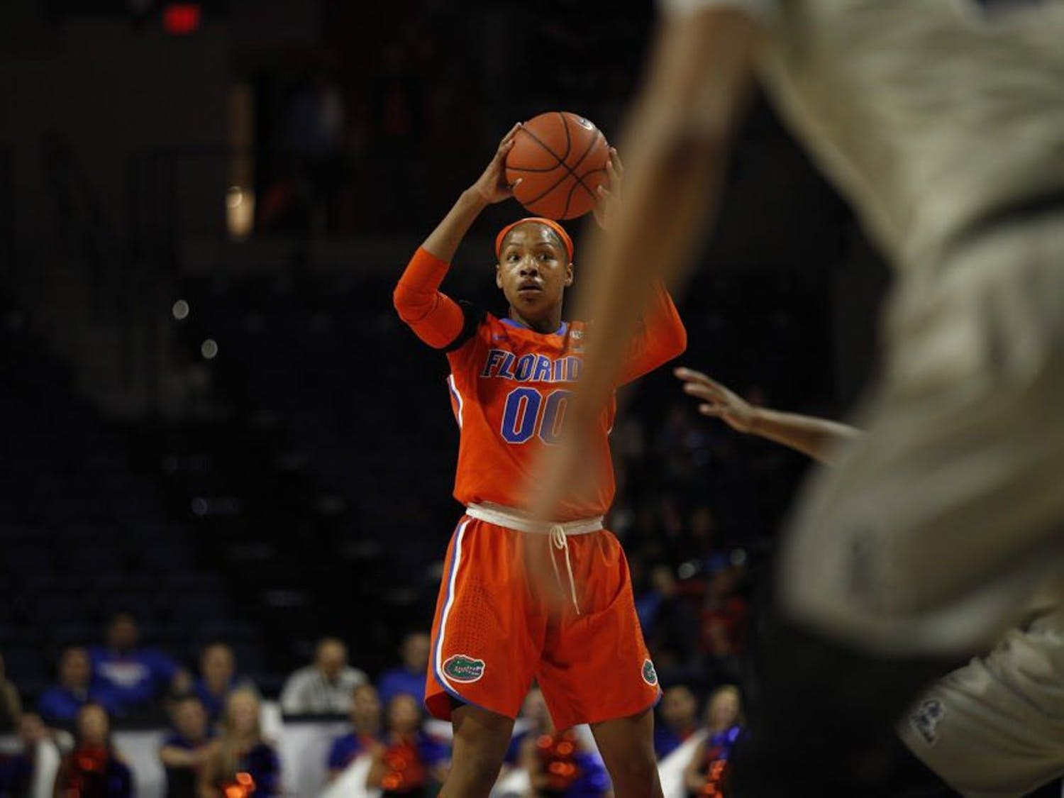 UF guard Delicia Washington looks to pass during Florida's 84-75 loss to Ole Miss on Feb. 6, 2017, in the O'Connell Center.