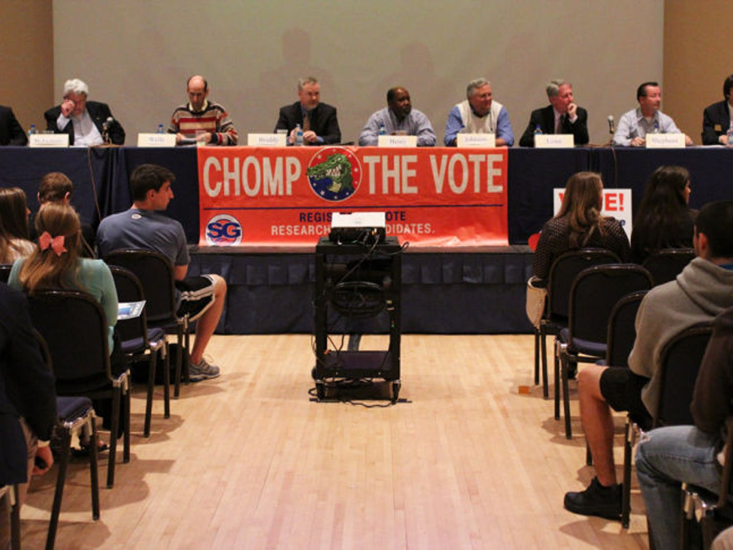 Mayor and City Commission candidates speak to students at the Chomp the Vote forum Wednesday evening at the Reitz Union.