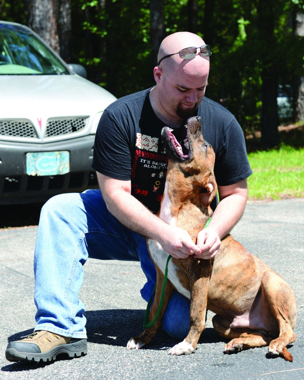 <div>Tim Forbes, 29, puts a leash on his new dog, Graham, at the Summer Lovin' Adoptathon on Saturday. The event found a new home for more than 180 cats and dogs.</div>